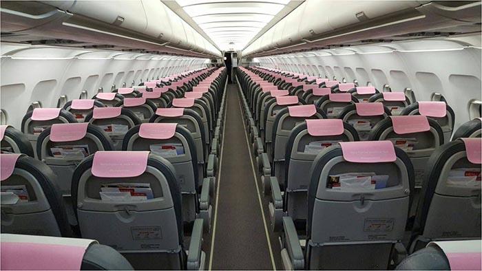 Cabezales rosas de Iberia Express