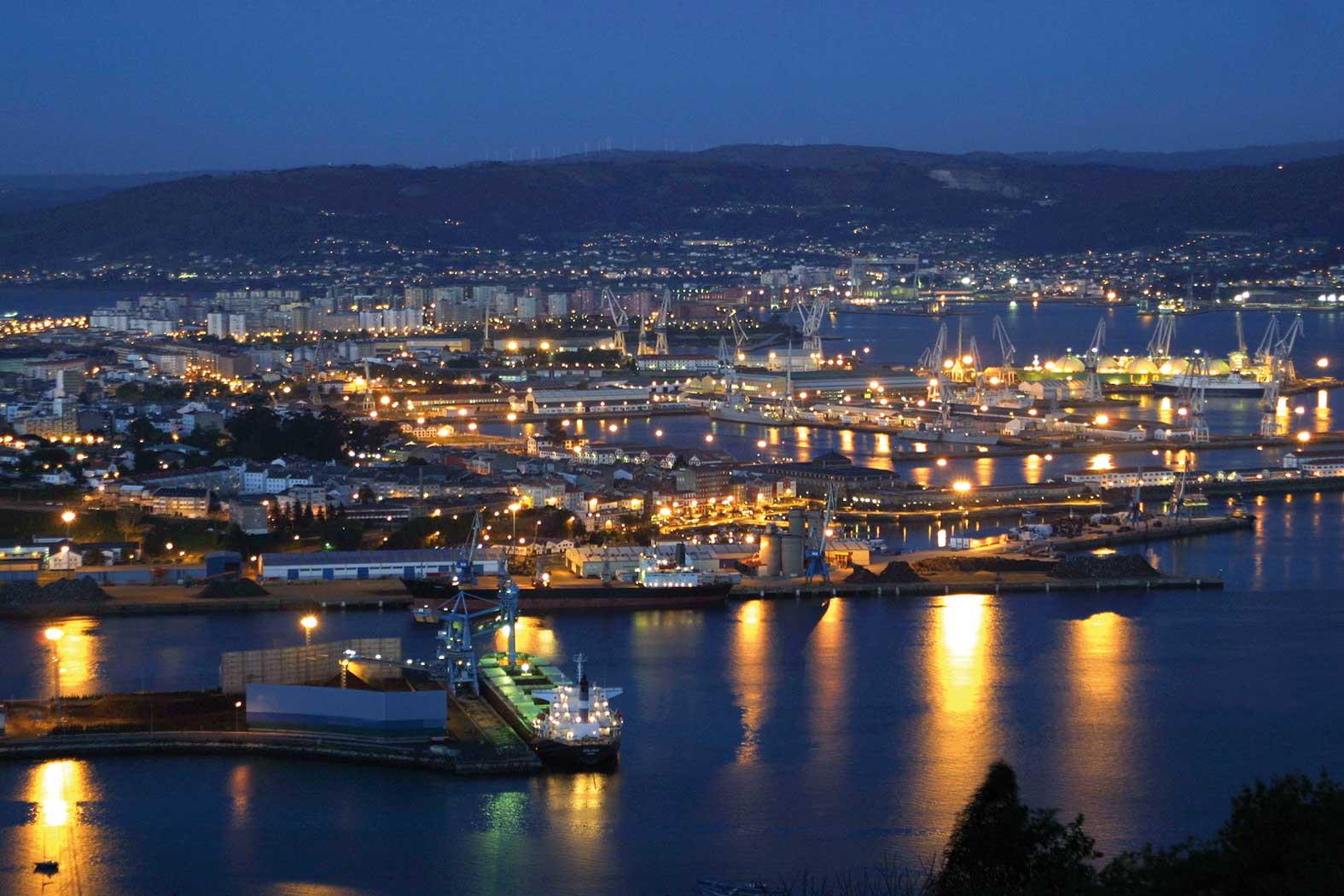 Ferrol vista general nocturna