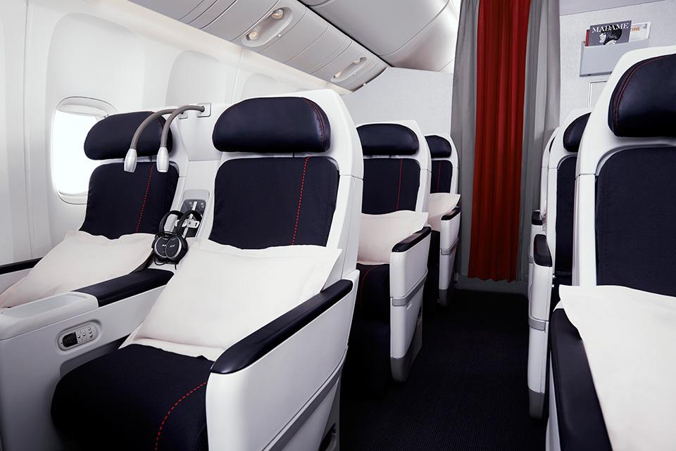 Interior de la cabina premium economy de Air France