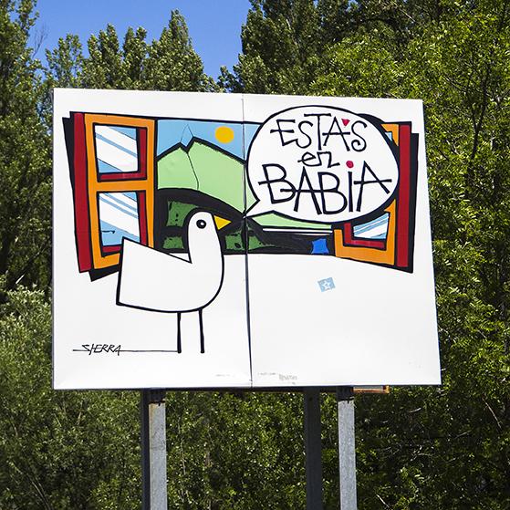 Cartel de bienvenida a la comarca de Babia
