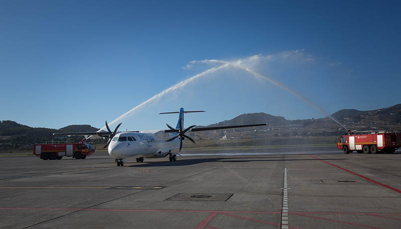 Llegada a Las Palmas del vuelo inaugural de Air Europa Interislas