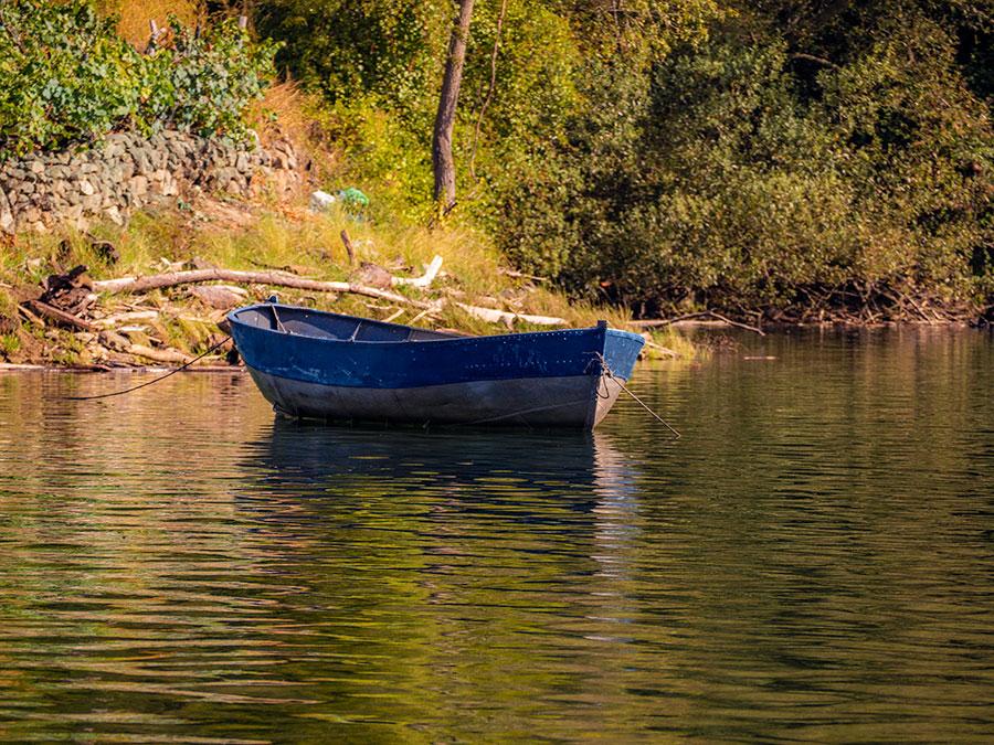 Barca en el río Miño