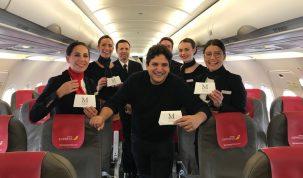 Mauro Colagreco con la tripulación Iberia Express