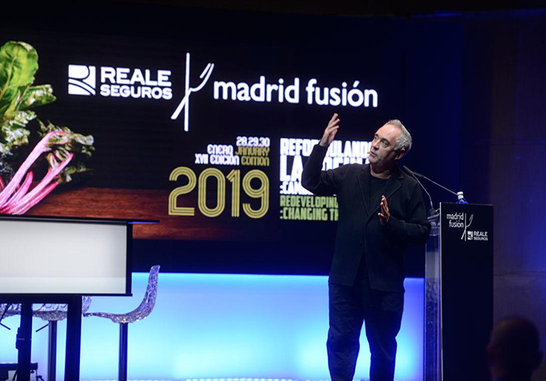 Ferrán Adriá durante su intervención en MAdrid Fusión 2019