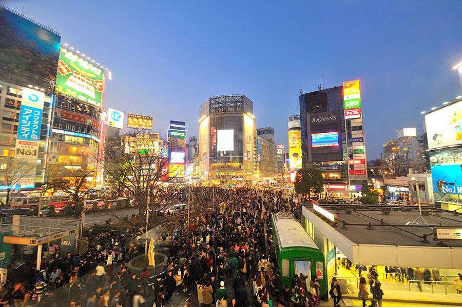 Noche en el barrio de Shibuya