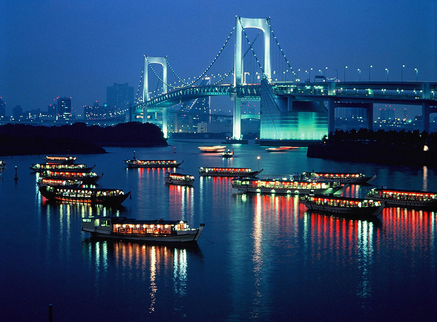 Odaiba Vista nocturna de Tokio