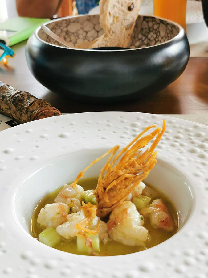 Aguachile de gambón restaurante Texeda